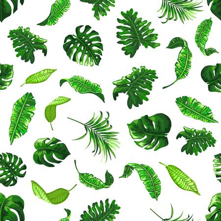 Tropisch naadloos patroon met palmbladeren. Stockfoto - 83313367