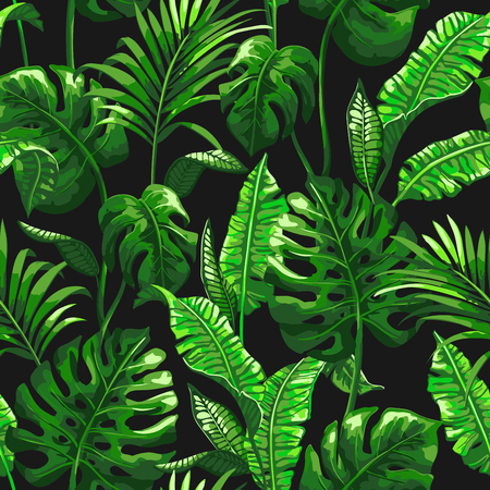 Tropical pattern with palm leaves.
