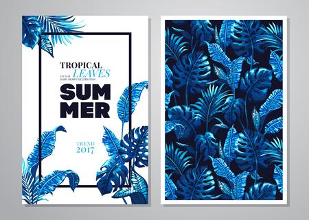 Tropical palm leaves. Ilustracja