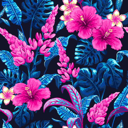 Tropical seamless pattern with palm leaves. Фото со стока - 83879068