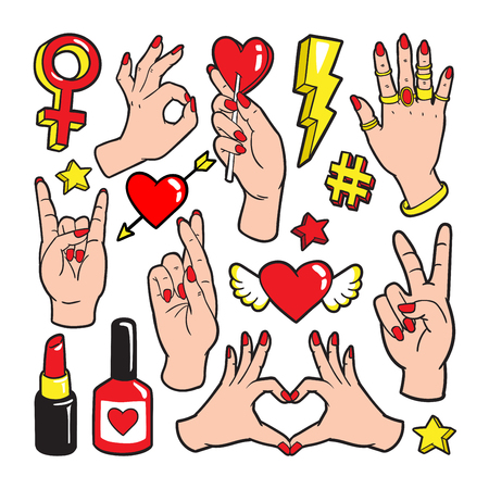 Fashion patch badges with gestures of hands. Stock Illustratie