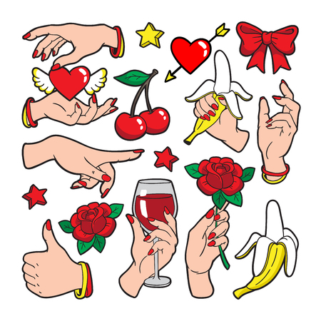 Fashion patch badges with gestures of hands. Ilustrace