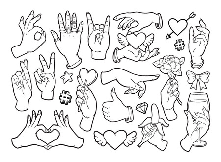 lineart: Fashion patch badges with gestures of hands. Illustration