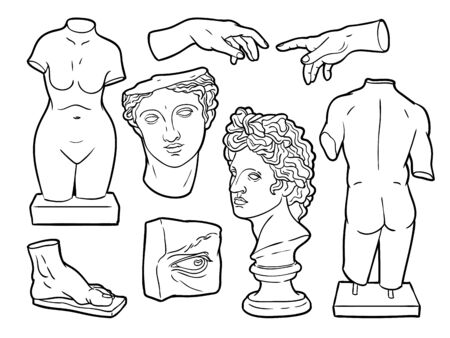 Ancient sculpture illustrations, vector handdrawn ink illustrations. Vectores