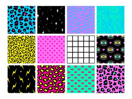 Set of seamless patterns in trendy acid psychedelic cosmic style.