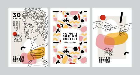 Modern abstract cards with ancient sculptures. Set of vector banners in trendy contemporary style.
