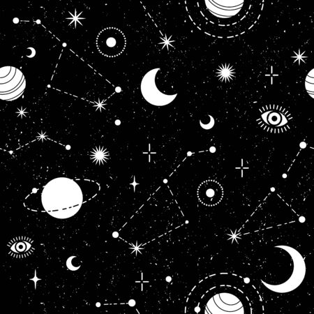 Occult trendy seamless pattern with moon, planet, constellation and stars.