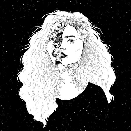 Portrait of beautiful woman with flowers. Black and white ink illustration. Stock Illustratie