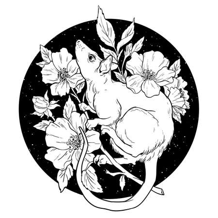 Black and white rat with flowers. Vector Illustration.