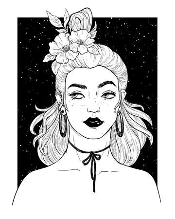 Portrait of a young woman with flowers and beautiful hair. Stock Illustratie
