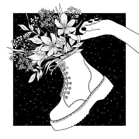 Black and white shoes with flowers. Vector Illustration.