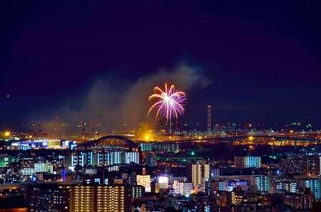 turnout: City Fireworks Stock Photo