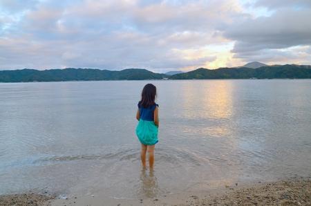seawater: Girls at the seaside Stock Photo