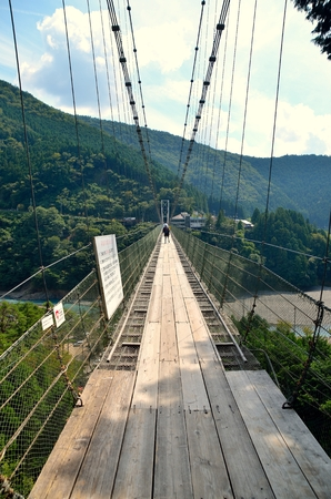 suspension: Tanise suspension bridge: Suspension bridge Stock Photo