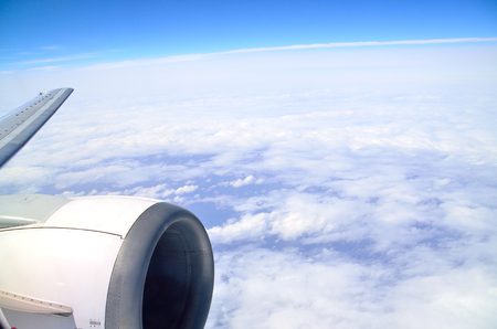 window treatments: The view from the window of an airplane Stock Photo