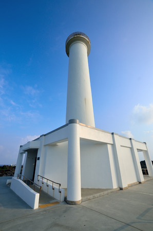 Zanpa Cape lighthouse Stock Photo