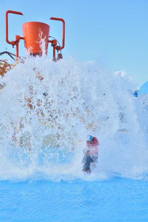 Big shagi brothers in pool playground equipment 版權商用圖片