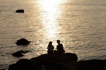 Seaside, Evening, Silhouette Фото со стока