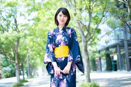 A young woman in a yukata