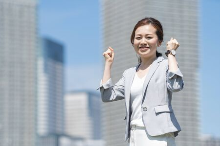 Business woman with cheering pose Stockfoto