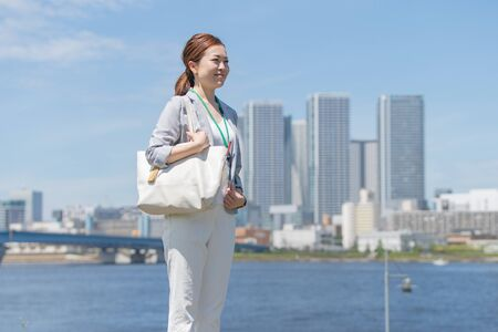 Businesswoman Commuting Stock Photo