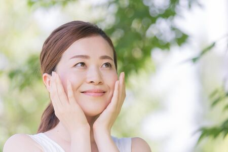 Women in their 30s, skin care, natural image 免版税图像