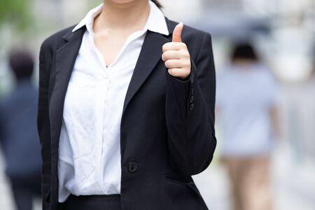 [Hand sign, GOOD sign] new employee, job hunting student 写真素材