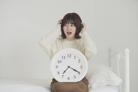 a woman who is impatient for time Stock Photo