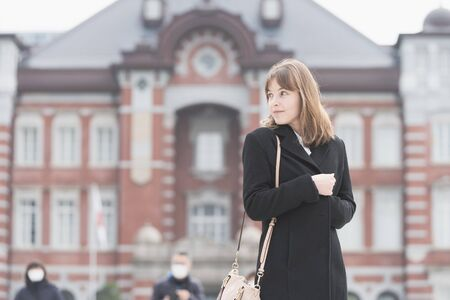 A woman sightseeing in Tokyo, Japan