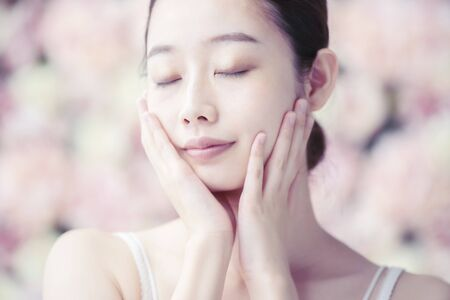 Skin Care, Women,Flower Background Stock fotó