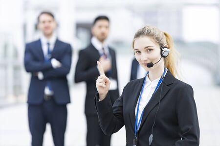 Operator with headset Stock fotó