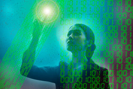 Composite photo of a woman seeking the right answer in a digital virtual space