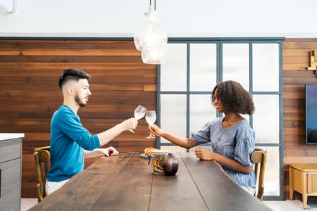 Image Photograph of Man and Woman Toasting (Couples / lovers )