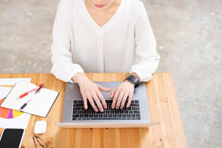 Asian young woman working with a laptop Stock fotó