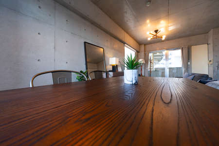 close up of wood grain table in the living room
