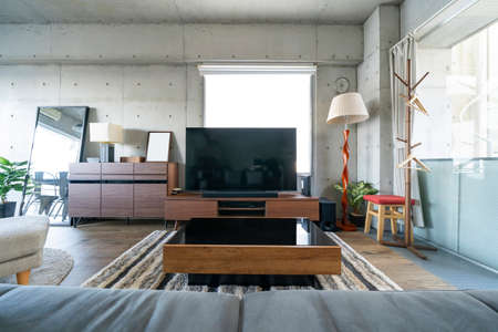 Living room with sofa and TV in the room Foto de archivo