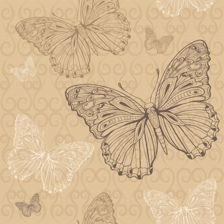 butterfly beige seamless Stock Vector - 18232215
