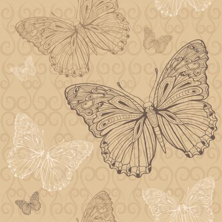butterfly beige seamless Stock Vector - 18232215