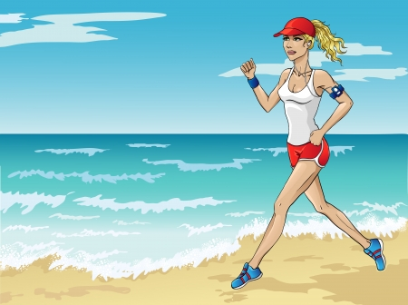 morning run along the beach Stock Vector - 18232216
