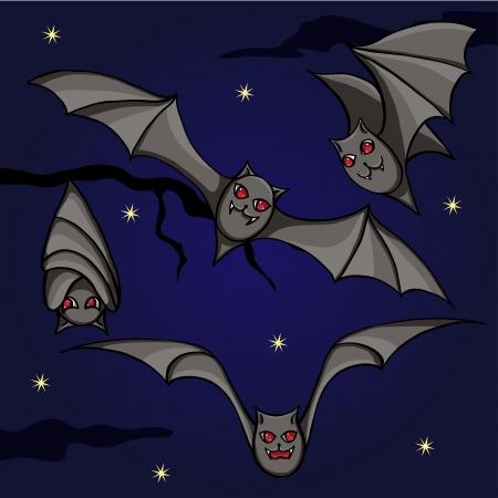 Bats on the night sky