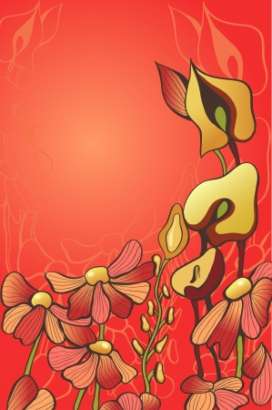 decorative red flowers Illustration
