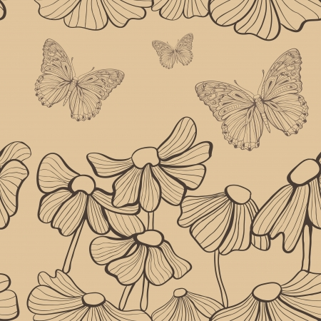 decorative flowers and butterfly seamless Stock Photo