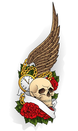 rose tattoo: tattoo with a skull, roses and wings on isolated background