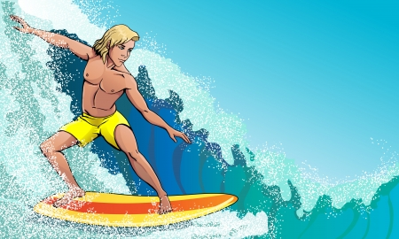 surfer on the waves rushing Illustration