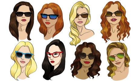 eyewear fashion: girl in sunglasses Illustration