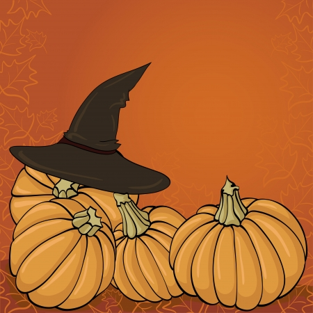 witch hat and pumpkin Illustration