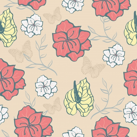 seamless texture with flowers on a light background Illustration
