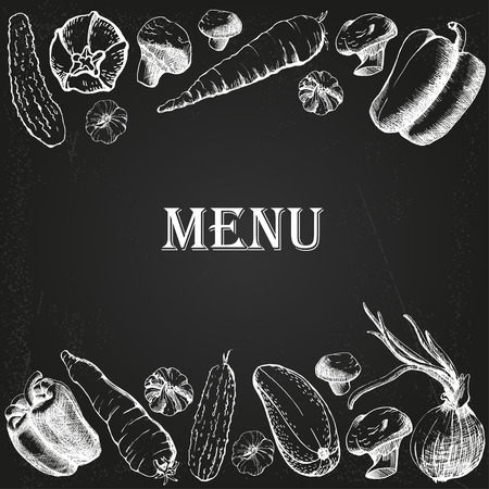 restaurant menu with vegetables on the chalkboard Illustration
