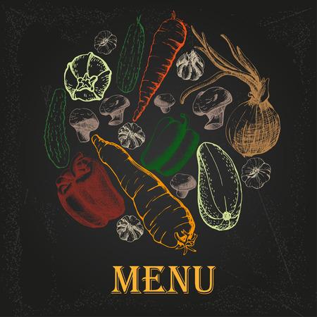 칠판에 야채와 함께 레스토랑 메뉴