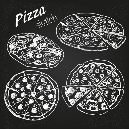 hand-drown  pizza on the chalkboard